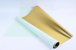 Материал флористическая пленка с золотом, 60 см х 5 м, Салатовый (М)