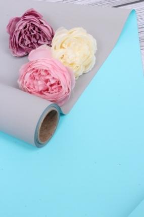 Матовая бумага двухсторонняя 50см*10м 50мкр., цв. бирюза/серый  4218Н
