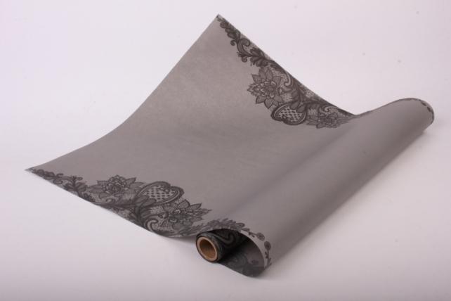 """Матовая бумага """"Кружево"""" 50см*5м серый"""