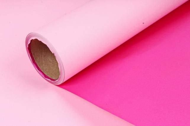 Матовая пленка двухцветная, 60см х 10м, розовый /ярко-розовый (М) 3300