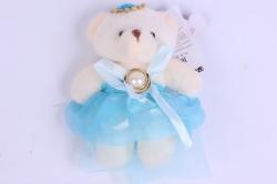Медведь для букетов (голубое платье) h=12см  Х020
