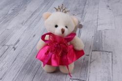 Медведь для букетов (малиновое платье) h=12см  Х09