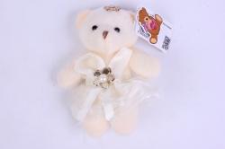 Медведь для букетов (персиковое платье) h=12см  Х01