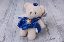 Медведь для букетов (синее платье) h=12см  Х040