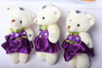 Медведь в фиолетовой юбке (3шт в уп) 10085