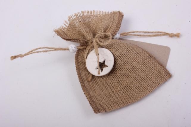 Мешочек из мешковины с подвеской глина