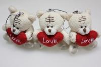 Мишка белый с сердечком (3шт в уп)