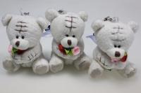 Мишка с розочкой (3шт в уп) - игрушки мягкие