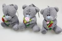 Мишка серый с розочкой  (3шт в уп) - игрушка мягкая