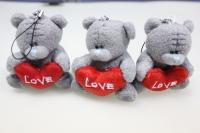 Мишка серый с сердечком (3шт в уп) - игрушка мягкая