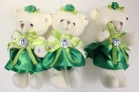 Мишка в зелёной юбке (3шт в уп)
