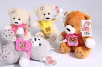 Мягкая игрушка - Медвежонок большой в шарфе - 4 цвета h=14см - Код 15018/14