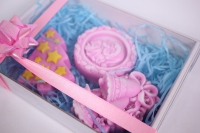 мыло (набор из 3х шт) ёлочка, колокольчик и снежинка (розовый) ручная работа
