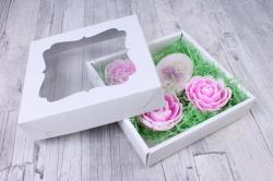 Мыло (набор из 4 шт)  Зайка и 3 розы   ручной работы