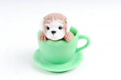 Мыло ручной работы Бульдожка в чашке зелёной