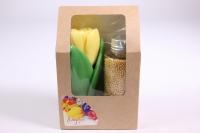 Мыло ручной работы Тюльпан с бисером для ванны желтый