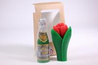 Мыло ручной работы Тюльпан с бутылкой шампанского