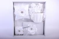 """Набор для росписи (подушка, ручка, подвязка, альбом, корзинка) """"Люкс"""" Белый с цветком 39х39см"""
