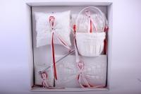 """Набор для росписи (подушка, ручка, подвязка, альбом, корзинка) """"Люкс"""" Белый с красным 39х39см"""