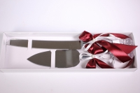 """Набор для торта свадебный """"Элит"""" (нож+лопатка) с бордовой лентой"""