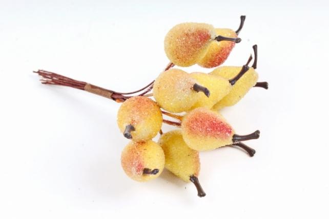 Набор груш засахаренных на вставках 12шт.,  желтый/красный KFH13-P1834 (А)