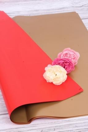 Набор 2-х сторонней матовой пленки красный/золото 58*58 см (20 листов в уп)