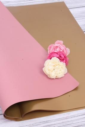 Набор 2-х сторонней матовой пленки пыльная роза/золото 58*58 см (20 листов в уп)