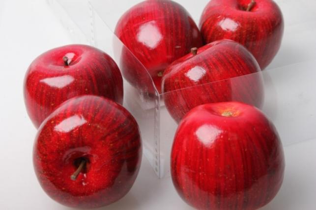 Набор искусственных яблок(6шт) 8см красный