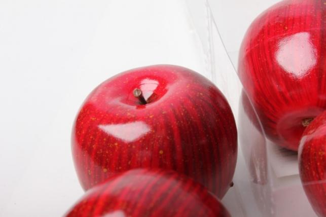 набор искусственных яблок(6шт) 8см красный 8687