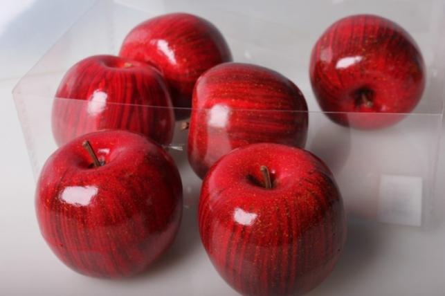 Набор искусственных яблок (6шт) 8см красный