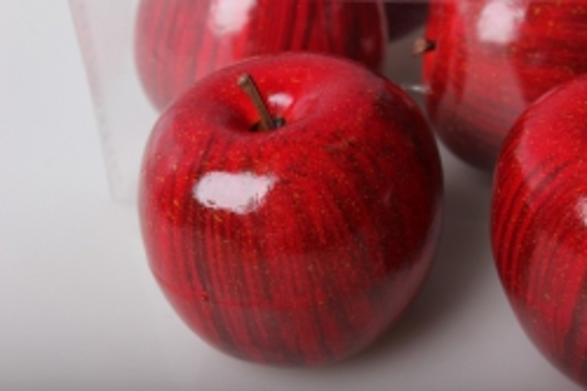 набор искусственных яблок (6шт) 8см красный 8687