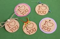 Набор из 5 декорированных бирок из натуральной кожи Ø50 мм «I Love You»