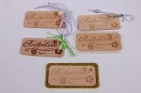 Набор из 5 декорированных бирок из натуральной кожи 60х27 мм «Поздравляю»