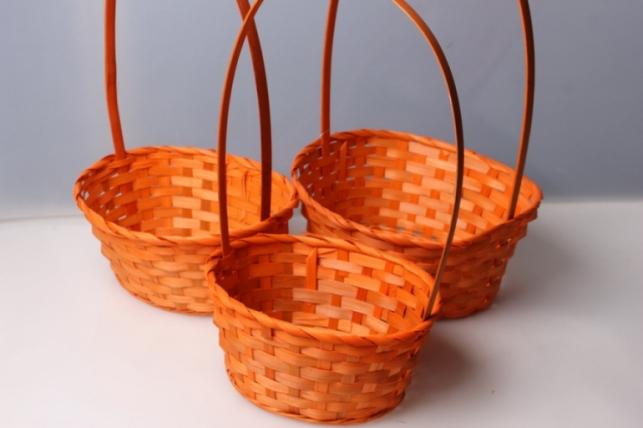 Набор из плетеных корзин (3шт) (бамбук) овал оранжевый 5788