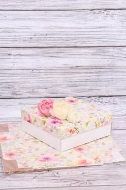 Набор (из 5шт) Коробка-трансформер Крафт с крышкой рисунок Цветы 19.5*19.5*7 D6.2