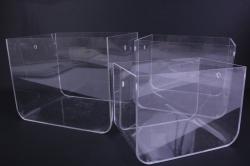 Набор Кашпо из 3шт - Прямоугольник пластик с ручками прозрачный