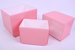 Набор Кашпо из 3шт - Прямоугольник пластик с ручками розовый