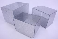 Набор Кашпо из 3шт - Прямоугольник пластик с ручками серебро