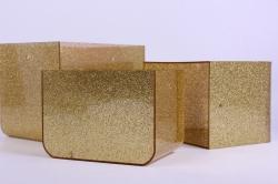 Набор Кашпо из 3шт - Прямоугольник пластик с ручками золото