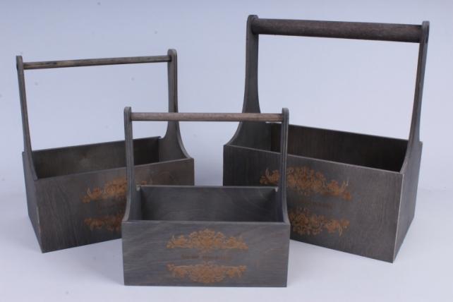 Набор кашпо из дерева   из 3шт (К) - Ящики с ручкой и гравировкой Мокрый асфальт