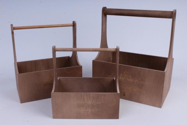 Набор кашпо из дерева   из 3шт (К) - Ящики с ручкой и гравировкой Молочный шоколад