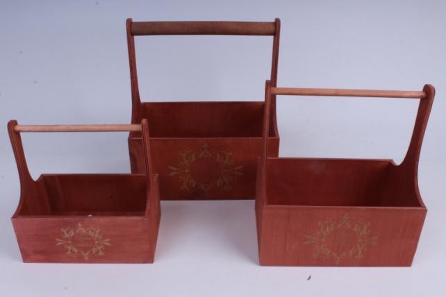 Набор кашпо из дерева   из 3шт (К) - Ящики с ручкой и гравировкой Розово-коричневый