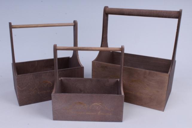 Набор кашпо из дерева   из 3шт (К) - Ящики с ручкой и гравировкой Старое серебро