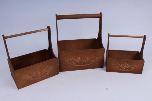 Набор кашпо из дерева   из 3шт (К) - Ящики с ручкой и гравировкой Светло коричневый