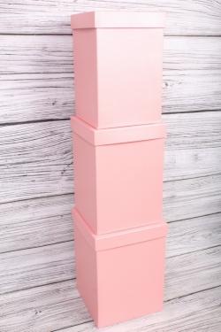 Набор коробок № 66 из 3шт - КУБ высокий Розовый Перламутр 18*18*25,5см Пин66-ПР