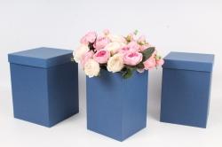 Набор коробок № 66 из 3шт - КУБ высокий Синий 18*18*25,5см Пин66-С