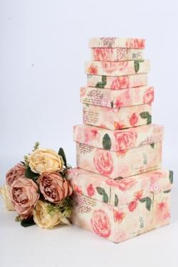 Набор коробок № 5 из 5шт - Квадрат малый Розы ретро 12*12*9см Пин05РР