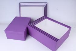 """Набор коробок № 3 из 5шт - Прямоугольные Сиреневый"""" 45см*35см*14см Пин03СР"""