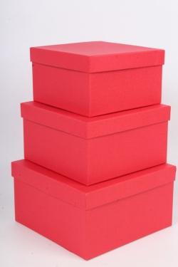 Набор коробок № 75 из 3шт -  Квадрат  Красный  Пин75-ОК