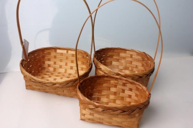 Набор корзин (3шт) плетеные (бамбук) квадрат коричневые 3814